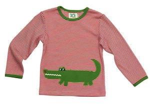 "Langarmshirt ""Krokodil"" ,rot/natur-gestreift, 100 % Baumwolle (kbA) - PAT & PATTY"
