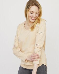 Sweatshirt aus Bio Baumwolle mit Ösendetail am Ärmel - Endlich