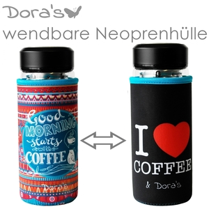 Coffee To Go Glasbecher mit Wendebezug - Dora