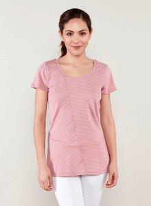 Asymmetrisch geschnittener streifen T-shirt aus Bio Baumwolle - ORGANICATION