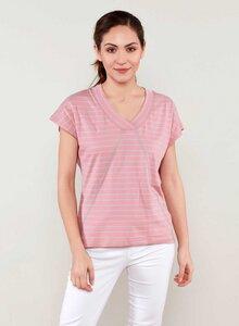 Ringel T-shirt aus Bio Baumwolle mit kontrast Naehten - ORGANICATION