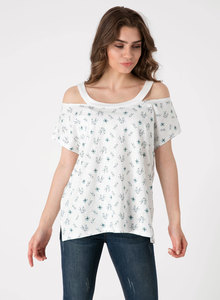 Schulterfreies Top aus Bio Baumwolle mit Allover-Print - ORGANICATION
