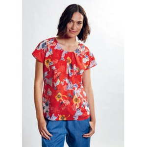 Blusenshirt Kurzarm Flower Red - Madness