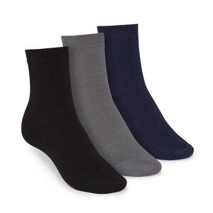 Socken Mittelhoch Schwarz Grau Blau 3er Pack Bio Fair - THOKKTHOKK