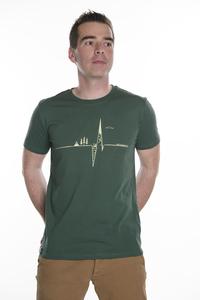 Herren T- Shirt 'Heartbeat' in bottle green - ecolodge fashion