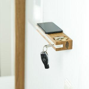 Schlüsselbrett slosilo, Design Schlüsselbrett aus Holz mit Ablage - Holzbutiq