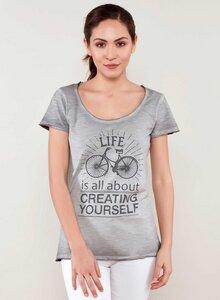 T-Shirt aus Bio Baumwolle mit Fahrrad Motive und Textaufdruck - ORGANICATION