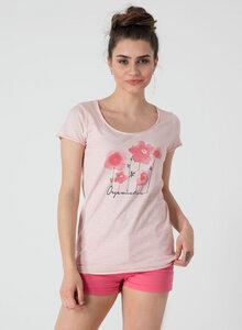 Bedrucktes T-Shirt aus Bio Baumwolle mit Blumen Motive - ORGANICATION