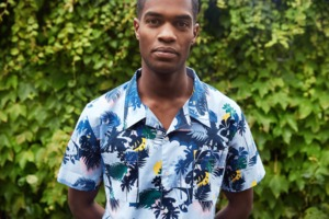 Hawaiihemd - short sleeve shirt Palm sea print - Skyway - KnowledgeCotton Apparel