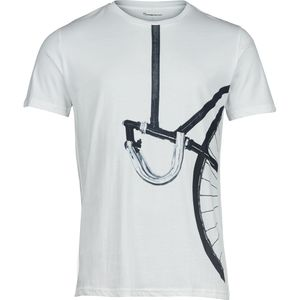 T-Shirt with printed vertical bike - weiß - KnowledgeCotton Apparel