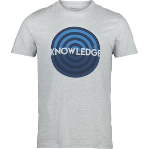 T-shirt with knowledge print - Grey Melange - KnowledgeCotton Apparel