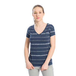 Striped V-Neck T-Shirt Damen Rauchblau - bleed