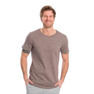 Curved T-Shirt Dunkelrot Meliert - bleed