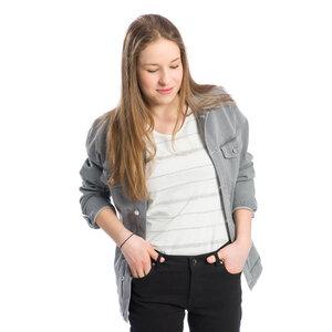 Jeans Jacke Grau Unisex - bleed
