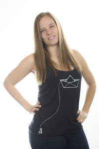 "Damen Tank Top ""Boat"" black Loose Fit - ecolodge fashion"
