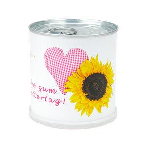Muttertags Blumengrüße Herz - Dosenblume mit Sonnenblume - MacFlowers
