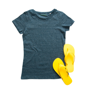 Damen T-Shirt - Heather Denim - Beach Set - Goganics