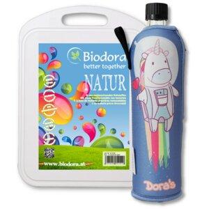 Nachhaltiges Einhorn Set mit Flasche und Schneidebrett - Dora