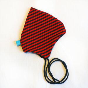 Baby Zipfelmütze marine/rot geringelt (mit oder ohne Bänder) - bingabonga