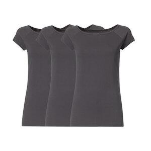 3er Pack BTD04 Cap Sleeve T-Shirt Damen Dunkelgrau Bio & Fair - THOKKTHOKK