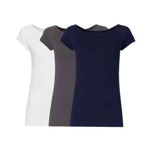 3er Pack BTD04 Cap Sleeve T-Shirt Damen Weiß/Dunkelgrau/Dunkelblau - THOKKTHOKK