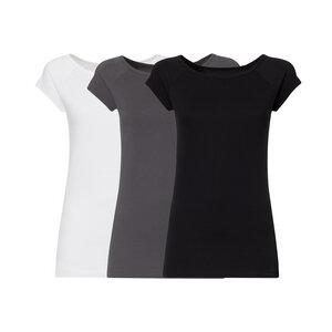 3er Pack BTD04 Cap Sleeve T-Shirt Damen Weiß/Dunkelgrau/Schwarz - THOKKTHOKK