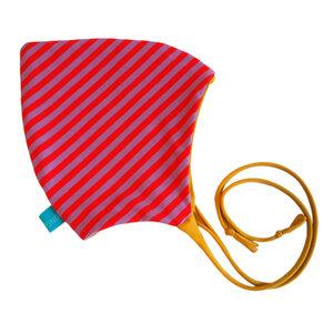 Baby Zipfelmütze flieder/rot geringelt (mit oder ohne Bänder) - bingabonga