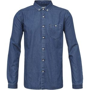 Jeanshemd - W/Cut-Away Collar - Washed Blue Denim - KnowledgeCotton Apparel