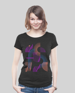 "Lowcut Shirt Women Dark Heather Black ""Abstrakt"" - SILBERFISCHER"