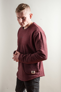 BE HUMAN SWEATER ZIP POCKET in Bordeaux - Who's Rob?