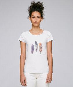 Basic T-Shirt mit Motiv / Federn - Kultgut