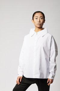 Statement Bluse aus Bio-Baumwolle - Weiß - LUXAA