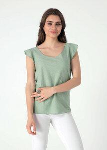 Jacquard Jersey Top aus Bio Baumwolle mit Volant-Ärmel - ORGANICATION