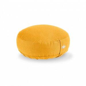 BIO  Meditationskissen Lotus Höhe 10 cm safran gelb mit  Bio Dinkelspelzen  - Lotuscrafts