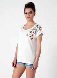 T-shirt aus Bio-Baumwolle mit aufgesticktem Blumenmotiv - ORGANICATION