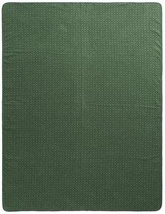 Wohn- und Kuscheldecke aus Recycling-Garn 'Warm Shades - Atomic Pattern Green' - biederlack