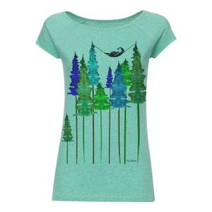 Wood Cap Sleeve T-Shirt Damen hellgrün spotted Bio & Fair - FellHerz