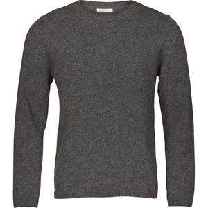 Single knit with raw edges in organic wool - Dark Grey Melange - KnowledgeCotton Apparel