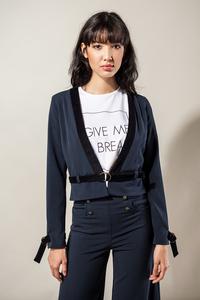 Blazer in blau tailliert mit Cord-Streifen und Ösen - SinWeaver alternative fashion