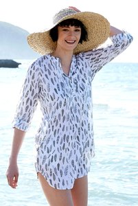 Printed Tunic Shirt - White - Nomads Fair Trade Fashion