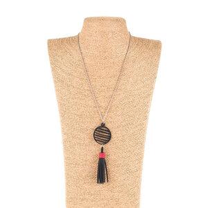 Lunar lange geometrische Halskette mit Quaste - SAPU