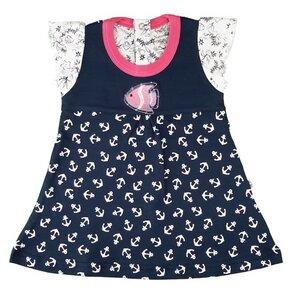 Mädchen Sommer Kleid dunkelblau Anker Print Bio Baumwolle - EBi & EBi