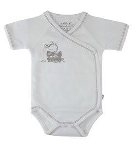 Baby Kurzarm Wickelbody weiß mit Print Bio Baumwolle - EBi & EBi
