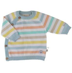 Baby Strick Wickelshirt hellblau gestreift Bio - EBi & EBi