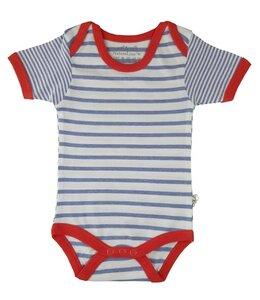 Baby Kurzarm Body blau geringelt Bio EBi & EBi - EBi & EBi