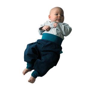sommerleichte Baby-Gemütlichkeitshose marine/smaragd - bingabonga
