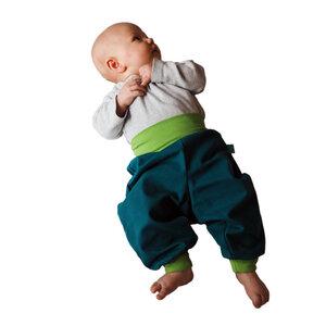 sommerleichte Baby-Gemütlichkeitshose smaragd/kiwi - bingabonga