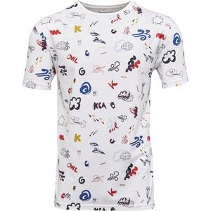 T-shirt with all over concept print - Bright White - KnowledgeCotton Apparel