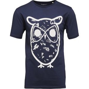 T-Shirt with Concept Owl Print - Peacoat - KnowledgeCotton Apparel