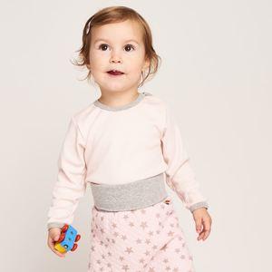 Langarm Body 'Uni Peach Blush' aus 100% Bio-Baumwolle - Cheeky Apple